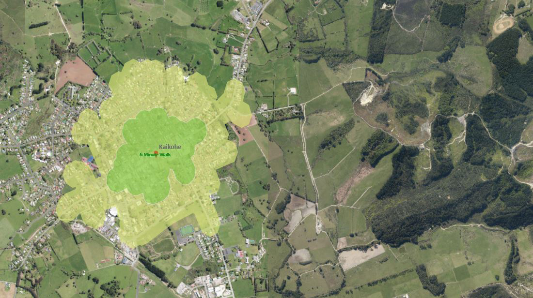 Aerial map showing walkable areas within Kaikohe. Links to interactive map.